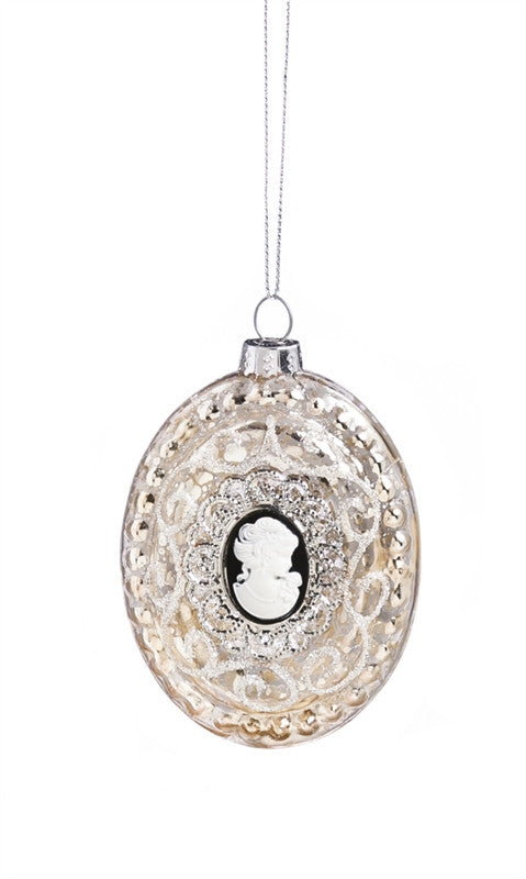 Silver Cameo Glass Ornament
