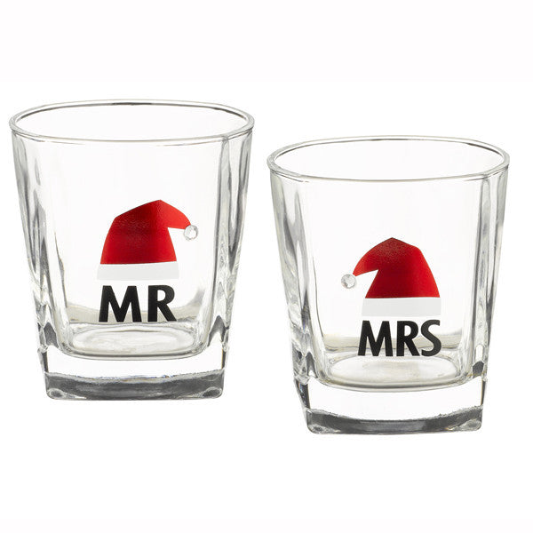 "Winter Lodge Whiskey Glasses ""Mr & Mrs"""