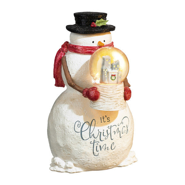 Snowman With Light-Up Snowglobe Figurine