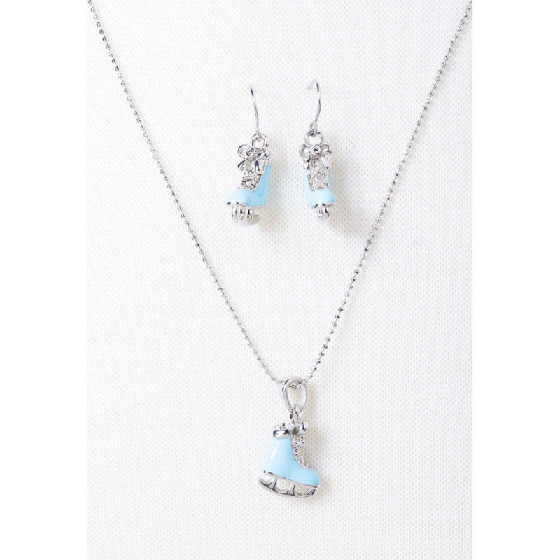 Blue Ice Skate Earring & Necklace Set