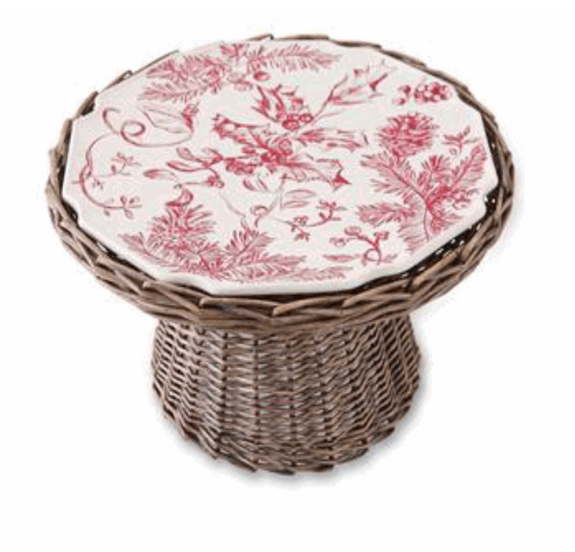 Holly / Toile Cake Plate on Willow Hold