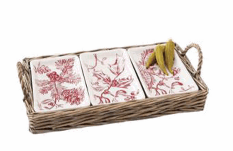 Holly /Toile Triple Dipping Set