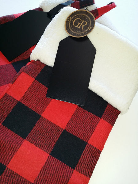 Plaid stocking w/ chalk board tag