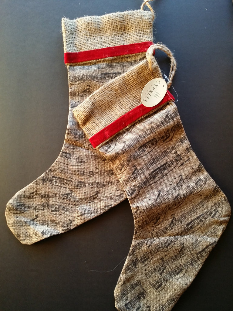 Burlap music note stocking