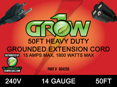 Grow1 240V Extension Cord 14 Guage 50'