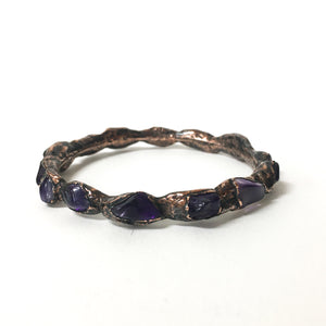 Polished Amethyst Copper Bracelet