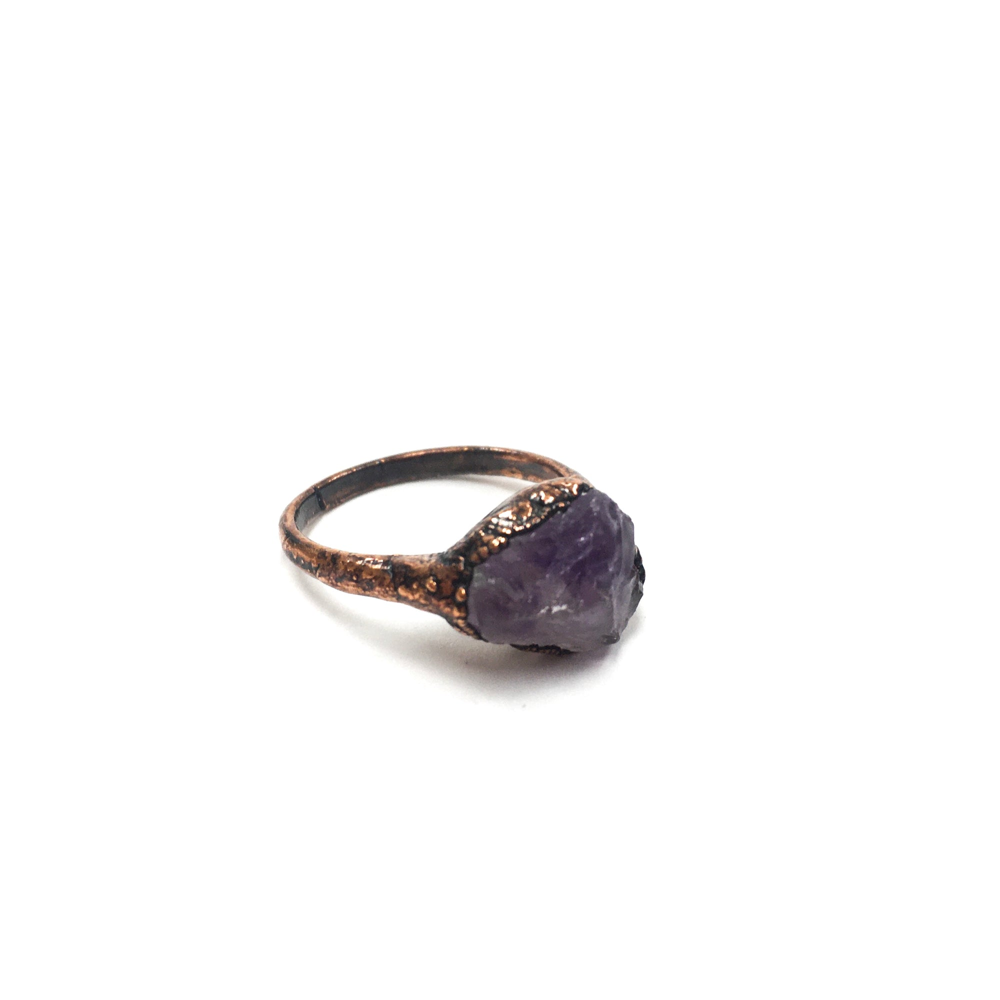 Amethyst Ring With Copper Band