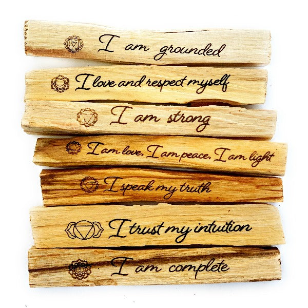Engraved Palo Santo Set With Chakra Healing Affirmations