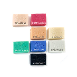 Various Handmade Soap Group Photo: Gracious, Compassion, Radiance, Delicate, Abundance, Intuition, Balanced, Authentic