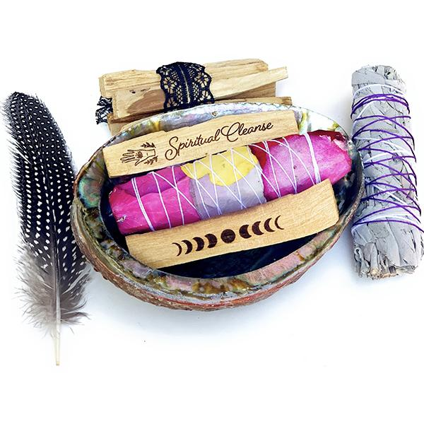 SMUDGE KIT - abalone shell, engraved Palo Santo, white sage, feather 1