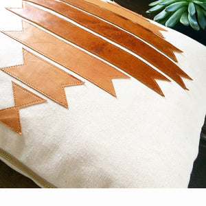 Tribal Geometric leather and canvas pillow covers