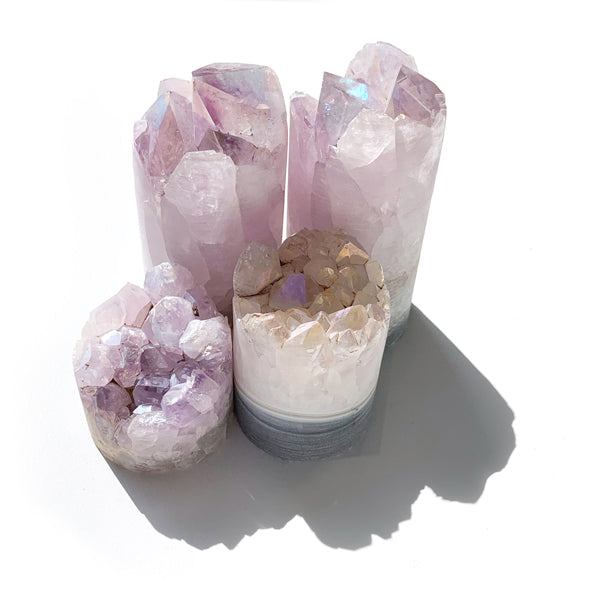 Light Purple Angel Aura Coated Amethyst Crystal Tower