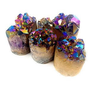 ANGEL AURA Rainbow coated amethyst druzy cylinder