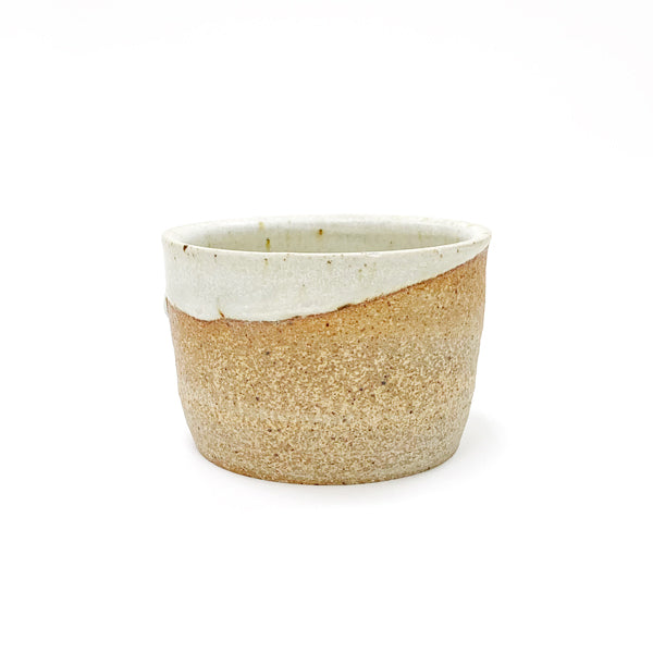 Ceramic Container: Light Brown and White