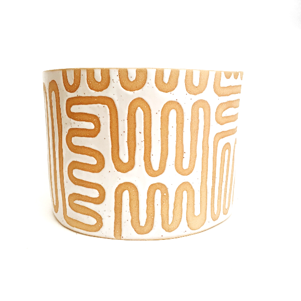 Ceramic Planter With Maze Pattern: Light Brown and White