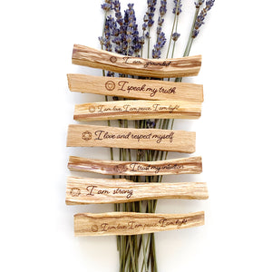 "Various Engraved Palo Santo Sticks. Example: ""I love and respect myself"""