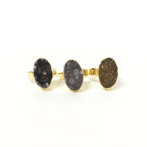 Oval Druzy Quartz Ring