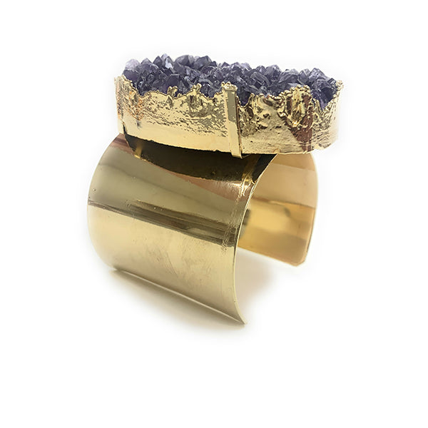 Statement Golden Amethyst Cuff Bracelet