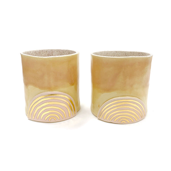Tan Tumbler With Golden Accents