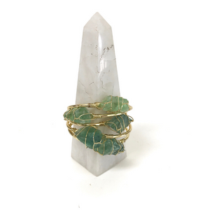 Green Fluorite Golden Bangles on Crystal Tower