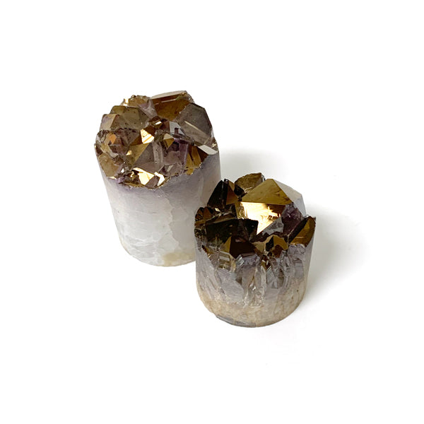 Two Druzy Crystal Towers Coated In Antique Gold