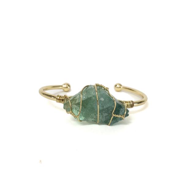 Green Fluorite Golden Bangle
