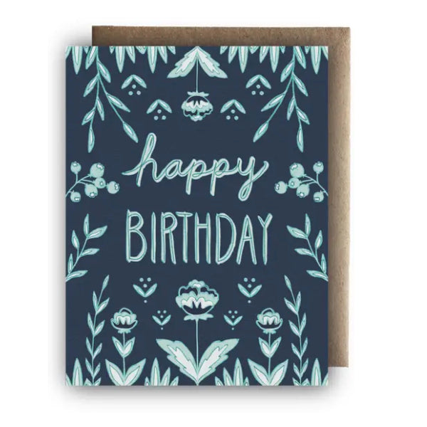 """Happy Birthday"" Greeting Card Blue Flowers"