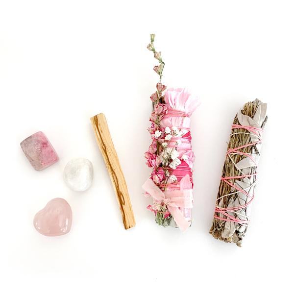 Heart Chakra Kit With Floral White Sage Smudge Stick, Rosemary White Sage Smudge Stick,Palo Santo, Rhodonite, Rose Quartz Heart, and Clear Quartz.