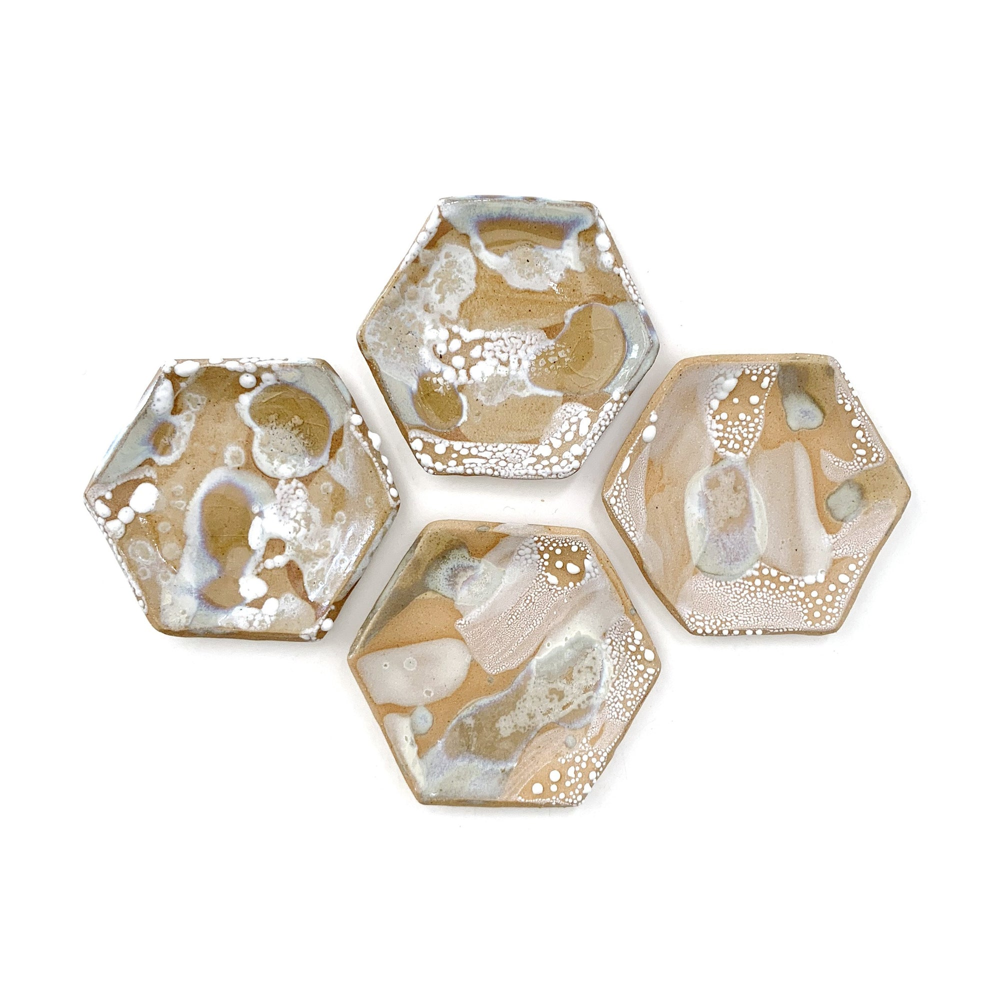 Golden and White Hexagonal Ring Dish