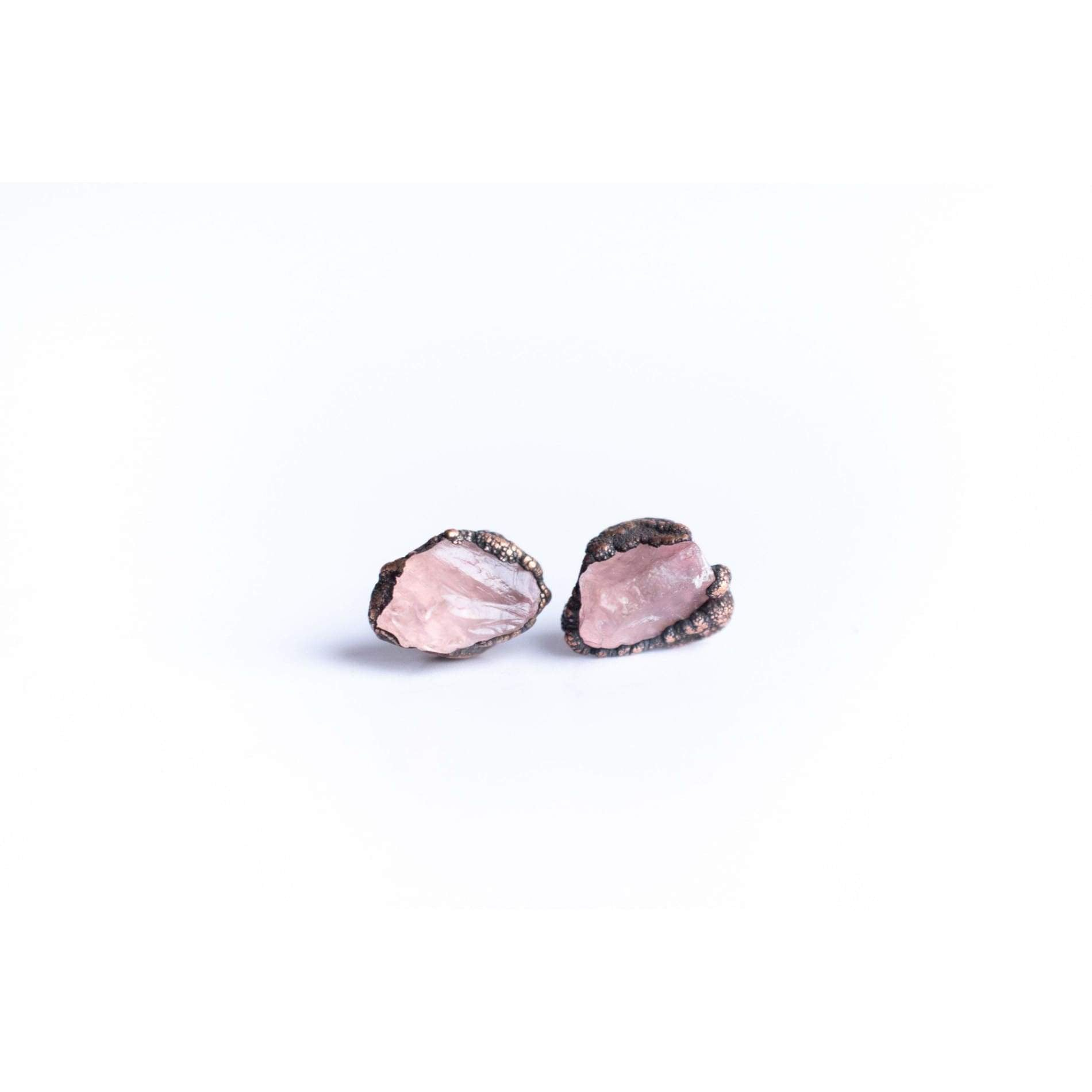 Rose Quartz Silver Post Earrings
