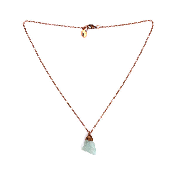 "small rough aquamarine stone on a copper cap and strung on an 18"" copper chain"