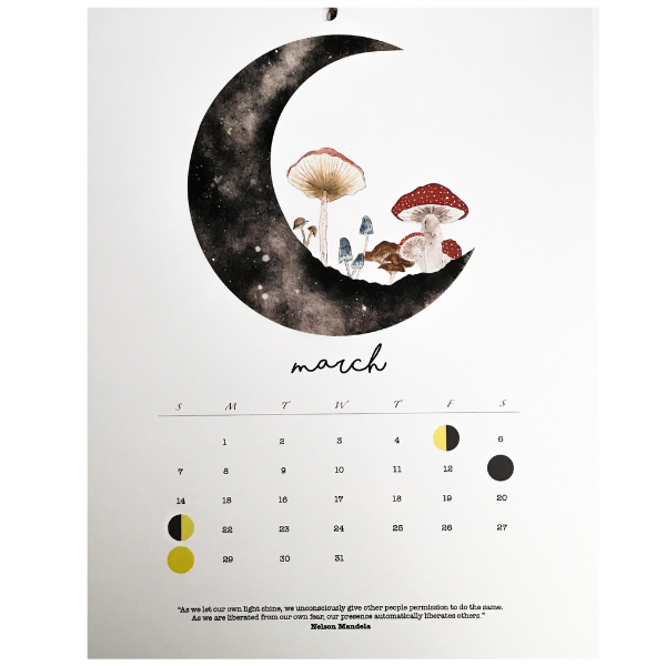 March Many Moon Phase Calendar