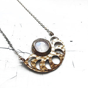 Moon Goddess Necklace with Rainbow Moonstone