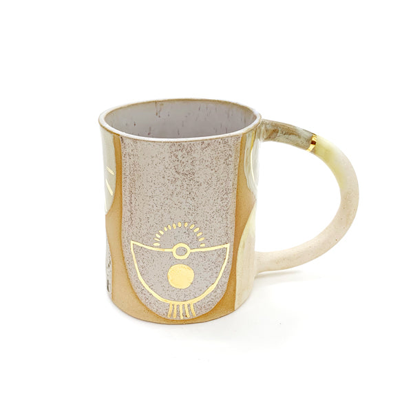 Tan and White Ceramic Mug With Golden Accents- Front