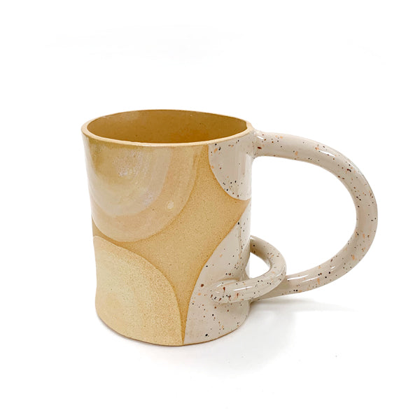 Artisan Ceramic Mug: Tan and Eggshell White