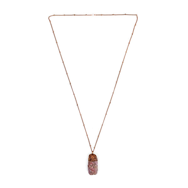 "Ruby Crystal Necklace On A 24"" Copper Satellite Chain."