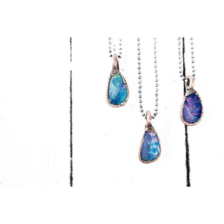 Sterling Silver Fiercy Opal Necklace