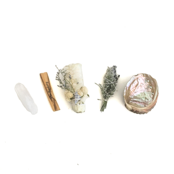 "Clear Quartz Rough Crystal, Engraved Palo Santo ""Love Everlasting"", Floral White Sage, Lavender Herbal Bundle, Abalone Shell."