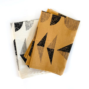 Tan and White Geometric Pattern Kitchen Towels