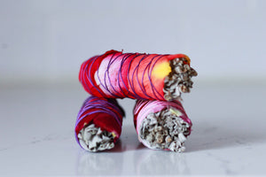 Three Rose Wrapped Floral White Sage Smudge Sticks
