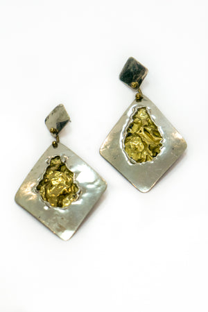 Vintage Silver and Gold Earrings - The Canyon