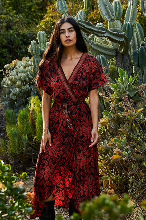 Vivian Wrap Dress - Red Floral - The Canyon