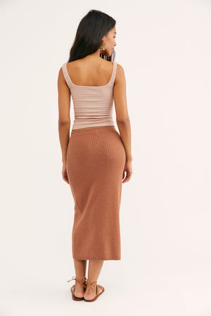 Skyline Midi Skirt - Cocoa Heather - The Canyon