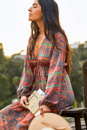Printed V Neck Gypset Dress - The Canyon