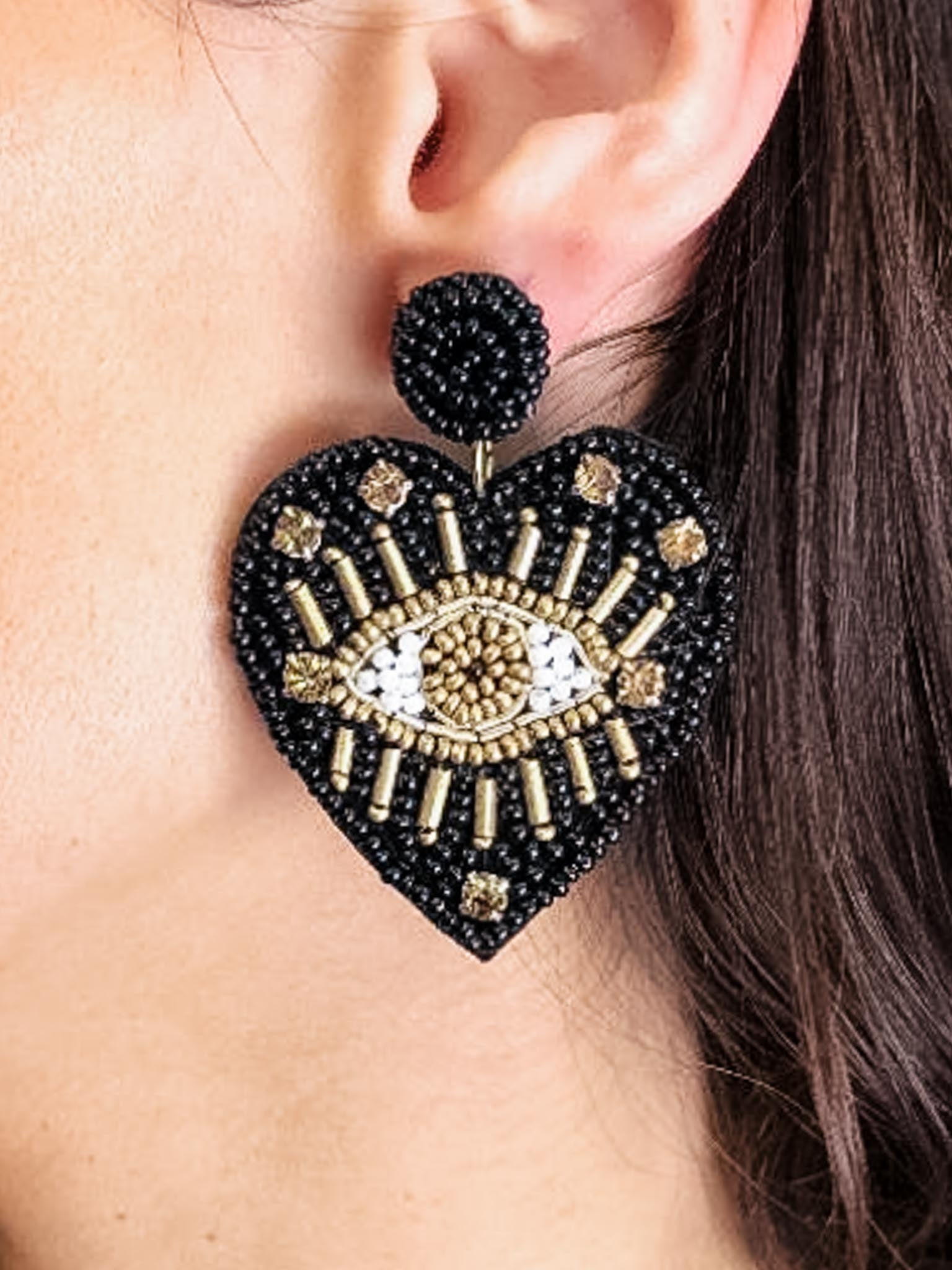 Beaded Eye Heart Earrings - The Canyon