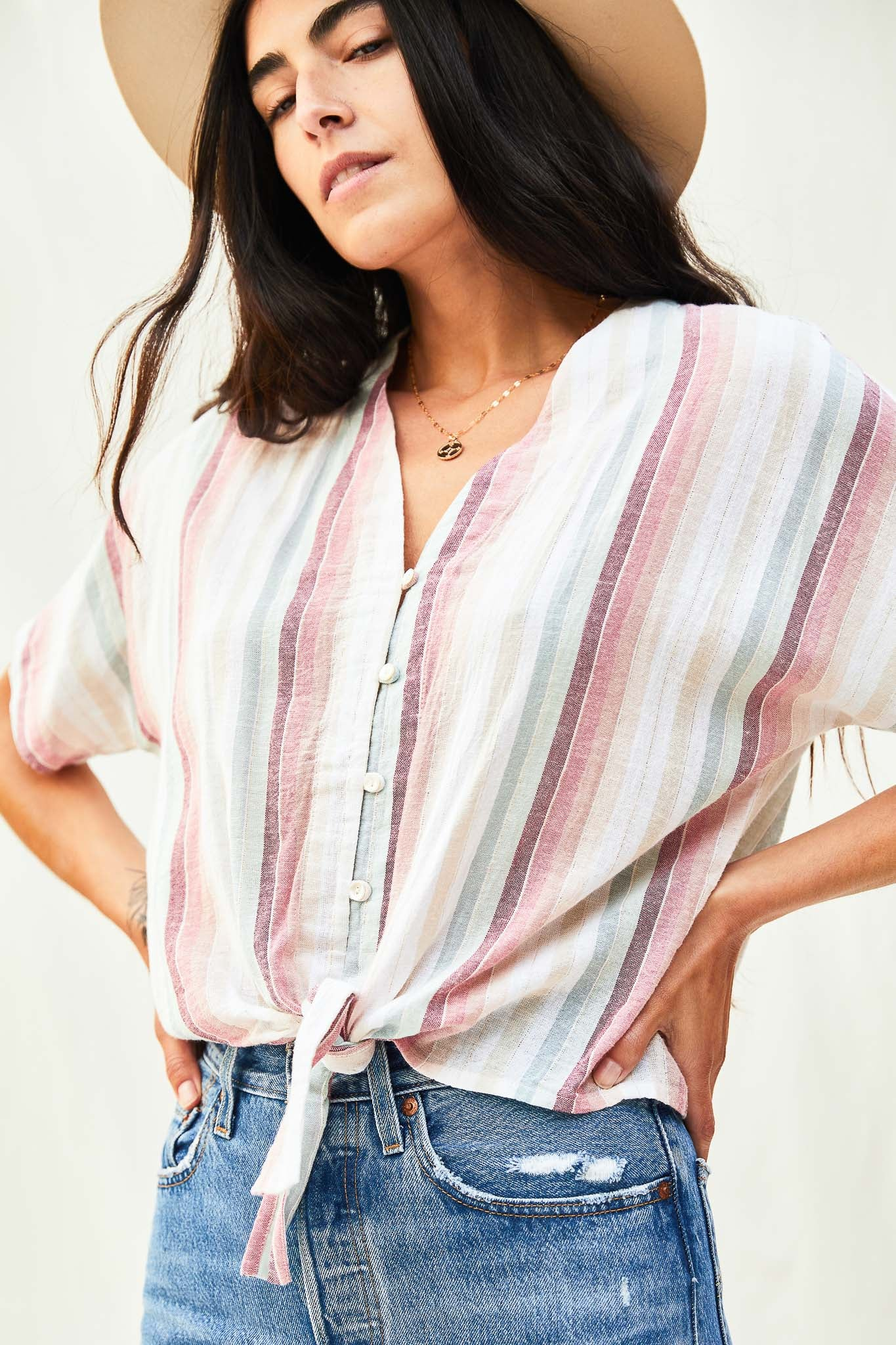 Button Up Tie Front Top - The Canyon