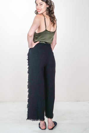 Frayed Linen Crop Pant - The Canyon