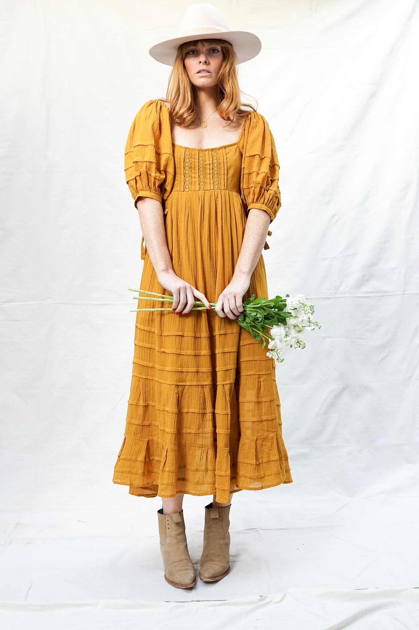 Let's Be Friends Midi Dress - Aged Mustard - The Canyon