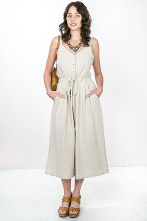 Linen Button Dress - The Canyon