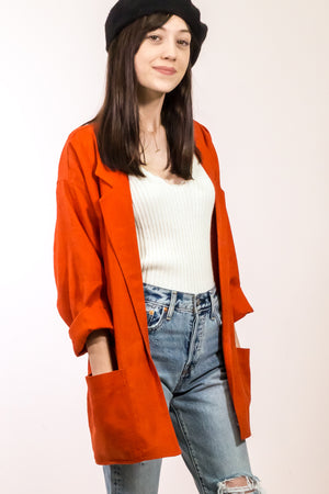 Red Vintage Linen Blazer - The Canyon